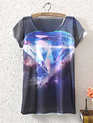 Women's O-Neck 2015 New Summer Fashion Cool Ice Cotton T shirt(Cotton Blends)