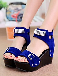 Sandalias ( Negro/Azul Zapatos con plataforma/Punta abierta - Tacón Cuña MUJERES