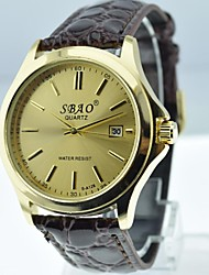 Men's Calendar Gold Case  Leather Band Quartz Analog Watch(Assorted Colors)