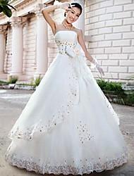 Vestido de Boda - Blanco y Champaña (el Color y Estilo pueden variar según su monitor) Corte en A Hasta el Suelo - Sin Tirantes Satén/Tul