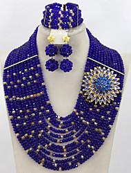 Hot Royal Blue Crystal Beads Jewelry Set African Wedding Bridal Jewelry Necklace Bracelet Earrings Set AC039