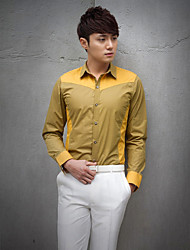 Shirts Classic (Semi-Spread) Long Sleeve Cotton/Polyester Solid Yellow