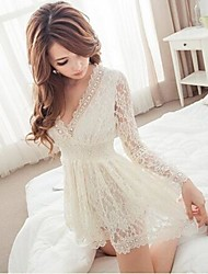 Women's Lace/Solid White/Black Dress , Sexy/Lace Deep V Long Sleeve