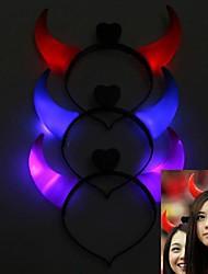 1pair clignotent éclatante cornes de diable tête cerceau gadgets de cosplay lumière pour Halloween Costume Party (3 couleurs au choix)