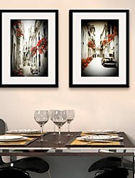 E-HOME® Framed Canvas Art, City Alley Framed Canvas Print Set of 2