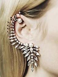 Masoo Women's Hot Selling Ttee Leaf Crystal Rhinestone Pearl Earrings