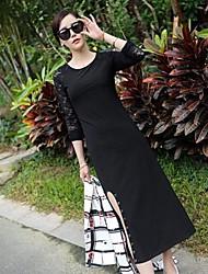 Women's Splicing Lace Slit Simplicity Sheath Dress