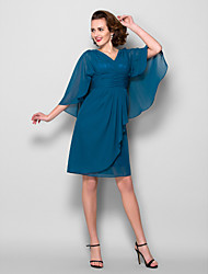 Sheath/Column Plus Sizes / Petite Mother of the Bride Dress - Ink Blue Knee-length 3/4 Length Sleeve Chiffon