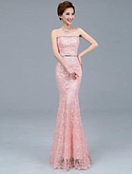 Formal Evening Dress Plus Size Trumpet / Mermaid Strapless Ankle-length Lace / Tulle with Embroidery / Lace