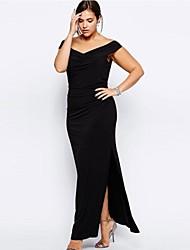 Women's Drop Shoulder Plus Size Black Maxi Dress
