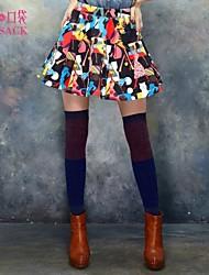 elf saco mulheres primavera saia uma linha de impressão colorido