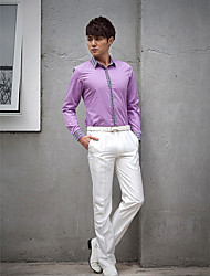 Shirts Classic (Semi-Spread) Long Sleeve Cotton/Polyester Solid Light Purple