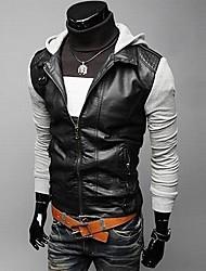 gzzg мужская причинно-следственная тонкий балахон PU сращивания пальто