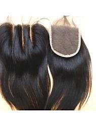 """brésiliens vierges morceaux de cheveux couleur de cheveux naturelle dentelle fermeture 3,5 """"x4"""" 3 partie naturelle droite"""