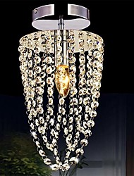 1-Light Chrome Modern K9 Transparent Crystal Chandelier with 1 LED Bulb