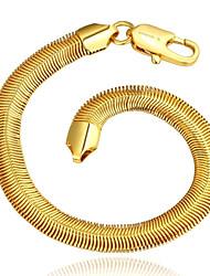 Simple Women's  Soft Snake Bones Gold Plated Brass Chain & Link Bracelet(Golden)(1Pc)
