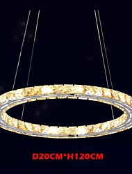 LED Crystal Pendant Lights Lighting Lamps Modern Fixtures Amber K9 Crystal Round Single Ring 20CM