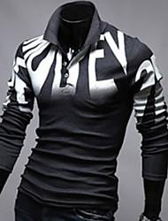 Martin Men's Fashion New Slim Floral Print Long Sleeve OL POLO Shirt