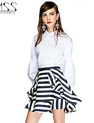 SMSS Women's Fashion Casual Stripe Bodycon Chiffon Ruffles Fold Skirts