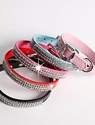Cat / Dog Collar Adjustable/Retractable / Rhinestone Red / Black / Blue / Pink / Rose PU Leather