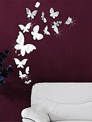 Mirror Wall Stickers Wall Decals, DIY 14PCS Butterfly Mirror Acrylic Wall Stickers