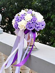 Purple and White Wedding Bouquet PE Silk Cloth Wedding Bride Holding Flowers