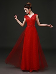 Formal Evening Dress - Lace-up A-line V-neck Floor-length Lace Tulle with Lace