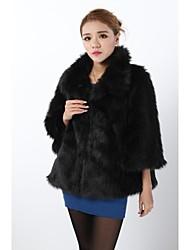 Fur Coats Faux Fur Jackets 3/4 Sleeve Faux Fur Black