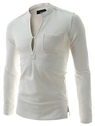 Männer Casual Langarm-V-Ausschnitt T-Shirt einfarbig