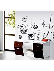 decalques de parede adesivos de parede, estilo simples preto e branco mundo mar parede pvc adesivos