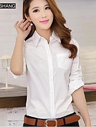 bs®women Casual / Übergrößen unelastisch Langarm regelmäßigen Shirt (Baumwolle)