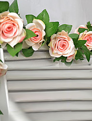 "78""L Set of  16 Flowers Rose Flower Rattan Silk Cloth Flowers"