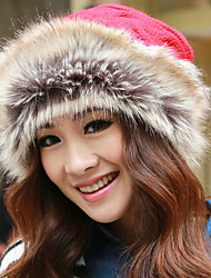 Cute Winter Faux Fur/Wool Blends Beanie/Slouchy