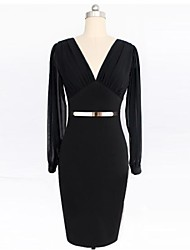 Women's V Neck Sheer Patchwork Solid Color Long Sleeve Pencil Dress