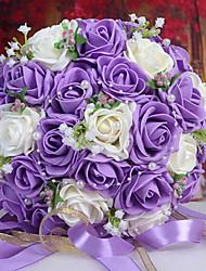 un bouquet de 30 roses pe de simulation de mariage bouquet de mariage mariée tenant des fleurs, violet et blanc