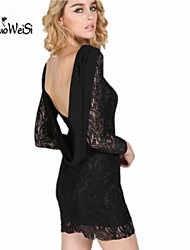 Nuo wei si ®  Women's Sexy Fashion Lace Patchwork Bodycon Crochet Mini Party Floral Mesh Club Dresses