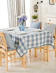 "Light Blue Plaid Table Cloth, Polyester 51""x70"", 55x94"""