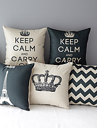 Set of 5 Modern Style Crown Patterned Cotton/Linen Decorative Pillow Cover