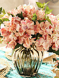 cinco hygrangeas rosa artificial flores com vaso cinza