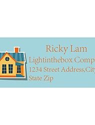 Personalized Product Labels / Address Labels Cute House Pattern Blue Film Paper