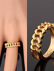 U7® Simple Hollow Ring Cuban Link Chain Shaped 18K Real Gold Plated Big Ring Fancy Fashion Jewelry Unisex High Quality
