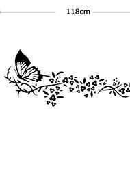 Vintage fleurs papillon noir mur de PVC autocollants
