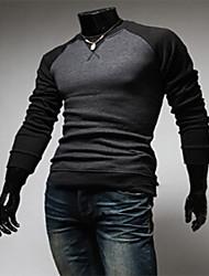 Camisetas ( Algodón / Rayón )- Cosecha / Casual / Fiesta / Trabajo Redondo Manga Larga para Hombre