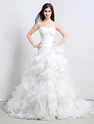 A-line Petite Wedding Dress Floor-length Sweetheart Organza with