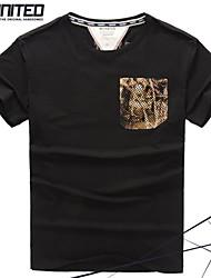 marque de mode grande taille T-shirt ras du cou des hommes avec le patch de camouflage poche grande&taille haute tshirt 2xl-6xl
