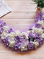 "19.7"" Rural Style Purple White Simulation Flower Garland with Toy Bears Plastic Semi-Circle Garland"