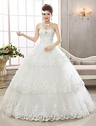 Ball Gown Ankle-length Wedding Dress -Strapless Lace