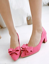 Women's Shoes Fleece Chunky Heel Pointed Toe Pumps Shoes with Bowknot More Colors available