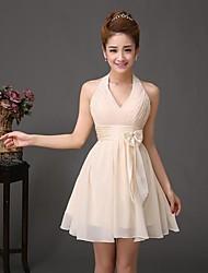 Formal Evening Dress - As Picture A-line Halter Short/Mini Chiffon