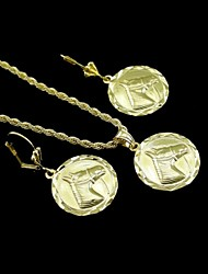 18K Real Gold Plated Horsehead Relie Coin Pendant Necklace+Earrings Jewelry Set